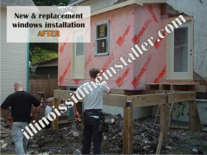 New and replacement windows installation AFTER - Illinois Siding Installer